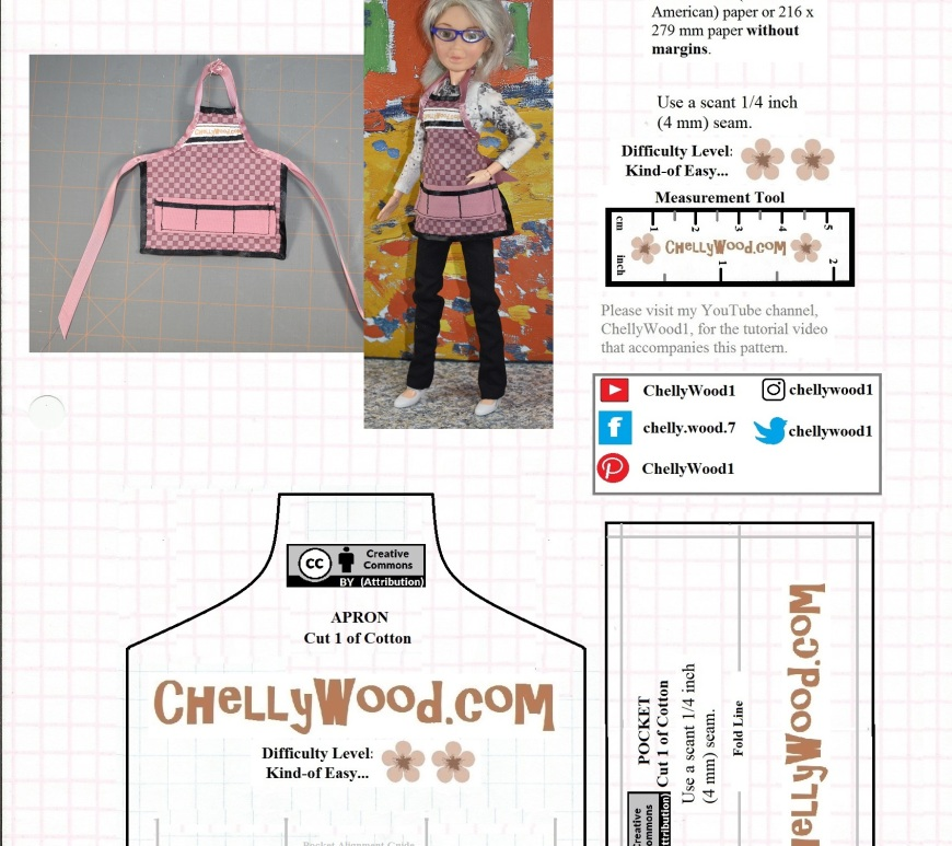 This image shows a pattern for a doll's easy-to-sew apron. The pattern includes a pocket piece. When sewn, the apron pattern will fit most 10-inch, 11-inch, and 12 inch fashion dolls like Barbie, Poppy Parker, Momoko, vintage Tammy dolls, and more. To download and print the free printable PDF sewing pattern for making the dolls' apron, please go to ChellyWood.com