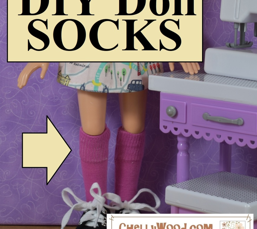 "The image shows the legs of a BFC Ink doll wearing a pair of handmade socks which have been sewn out of a pair of underwear. The overlay says ""DIY Doll Socks"" and if you go to ChellyWood.com, you'll find a free tutorial video that explains, step-by-step, how to make your own doll socks from underpants. This is one of dozens of easy-to-follow instructional DIY videos along with hundreds of free doll clothes sewing patterns which can be found at Chelly Wood dot com."